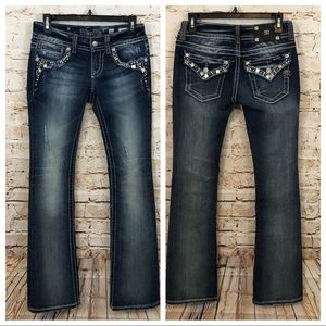Miss Me jeans bling flap pockets boot cut crystal